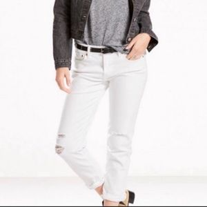 Levi's White Distressed Cropped Boyfriend Jeans 4